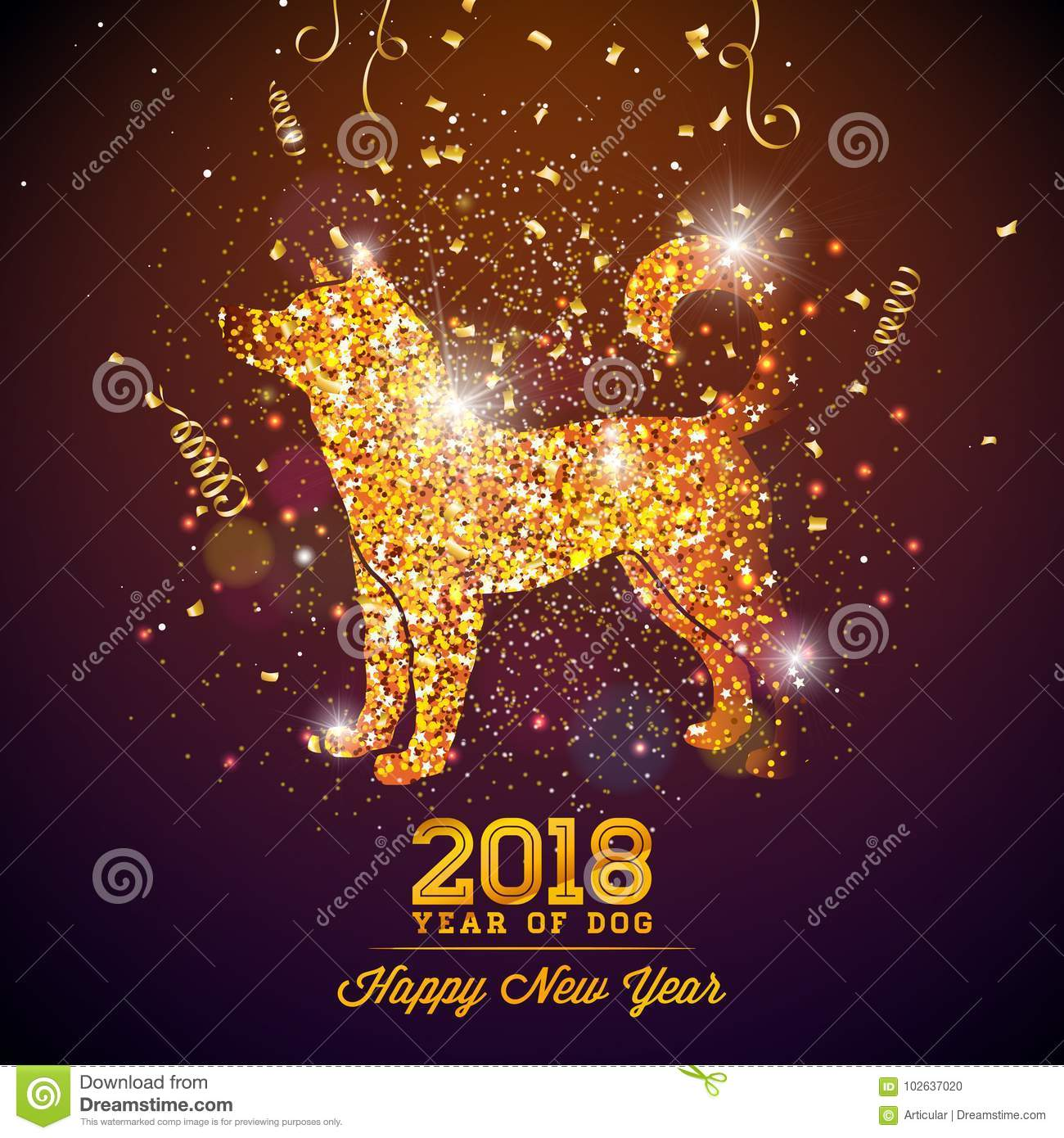 2018 chinese new year illustration with bright symbol on shiny celebration background year of dog vector design
