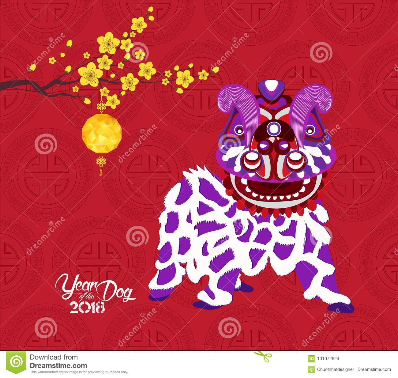 Chinese new year 2018 lantern, blossom and lion dance. Year of the dog
