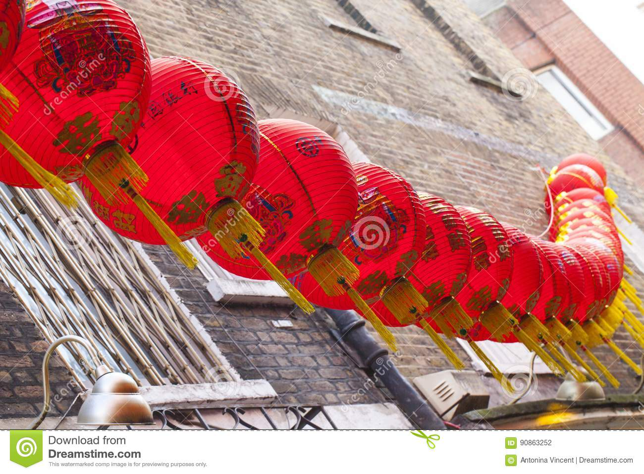 Chinese New Year Lantern Decoration Of The Street Stock ...