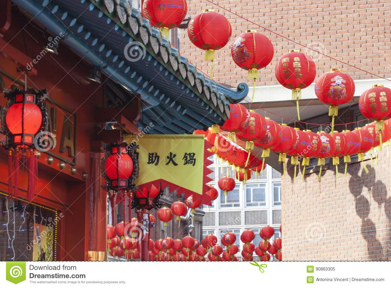 Chinese New Year Lantern Decoration Of The Street ...