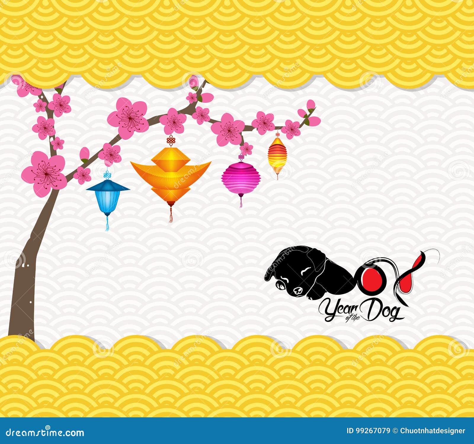 chinese new year 2018 lantern pattern background year of the dog