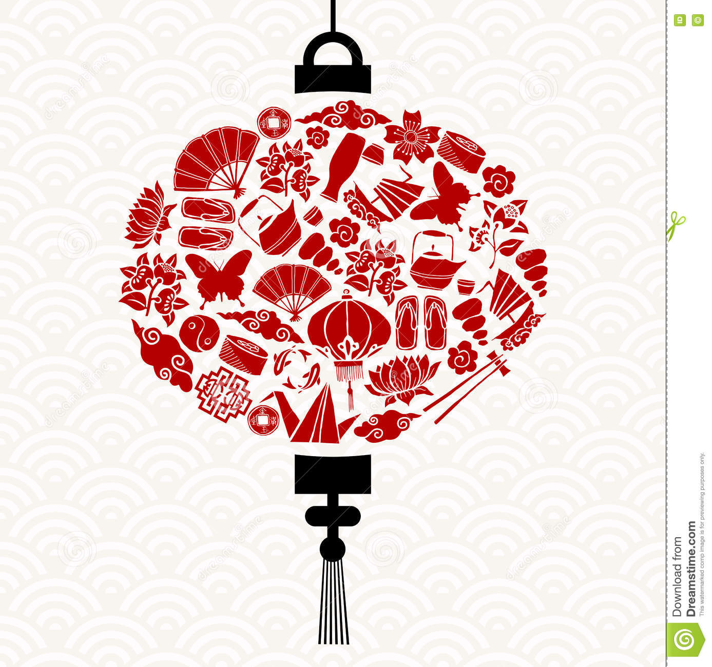 chinese new year lantern with red asian icons - Chinese New Year Lantern