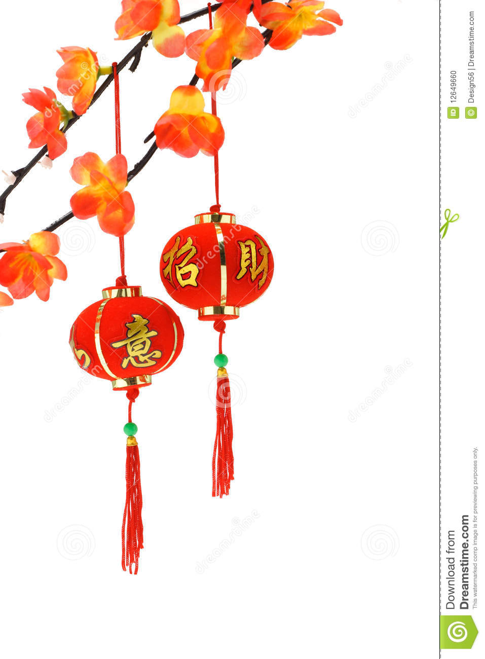 Chinese New Year Lanterns And Plum Blossoms Stock Photo - Image ...