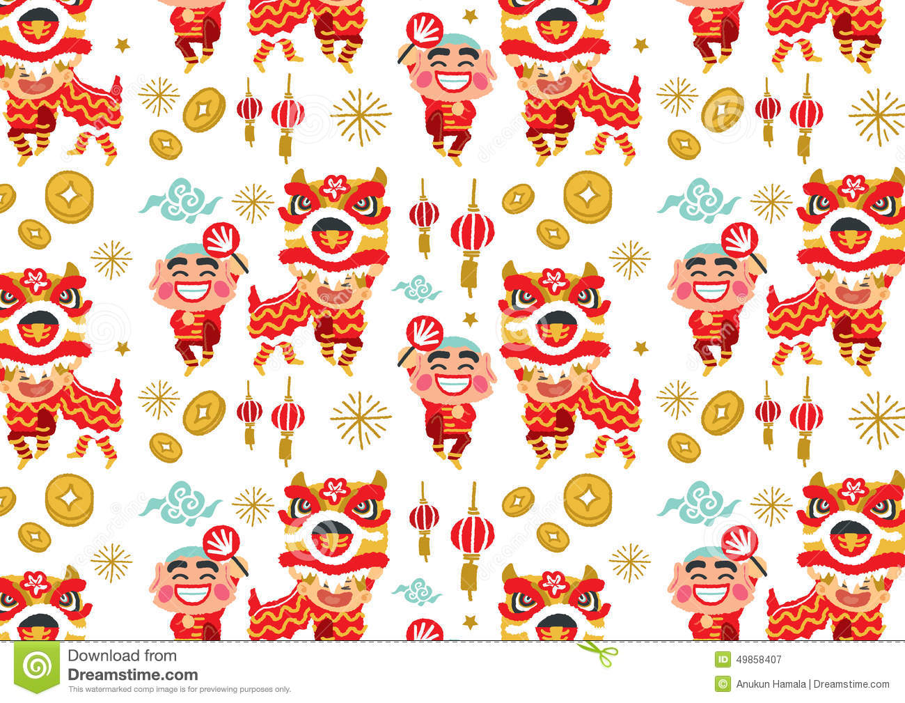 Lion dancing and chinese new year royalty free cliparts, vectors.