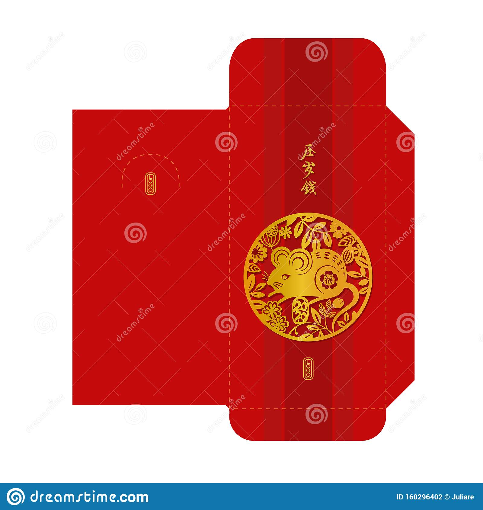 Chinese New Year 2020 Money Red Envelope Template. Zodiac Sign Mouse Gold  Paper Cut Design. Stock Vector - Illustration of gift, asian: 160296402