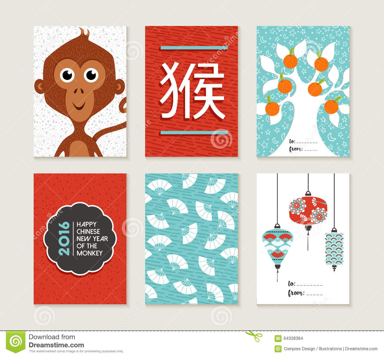 Chinese New Year 2016 Monkey Card Set Cute Stock Vector