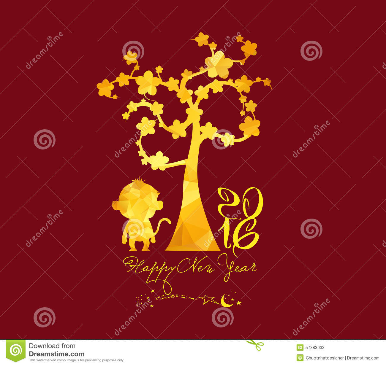 Chinese New Year 2016, Monkey With Golden Geometrical Stock Vector ...