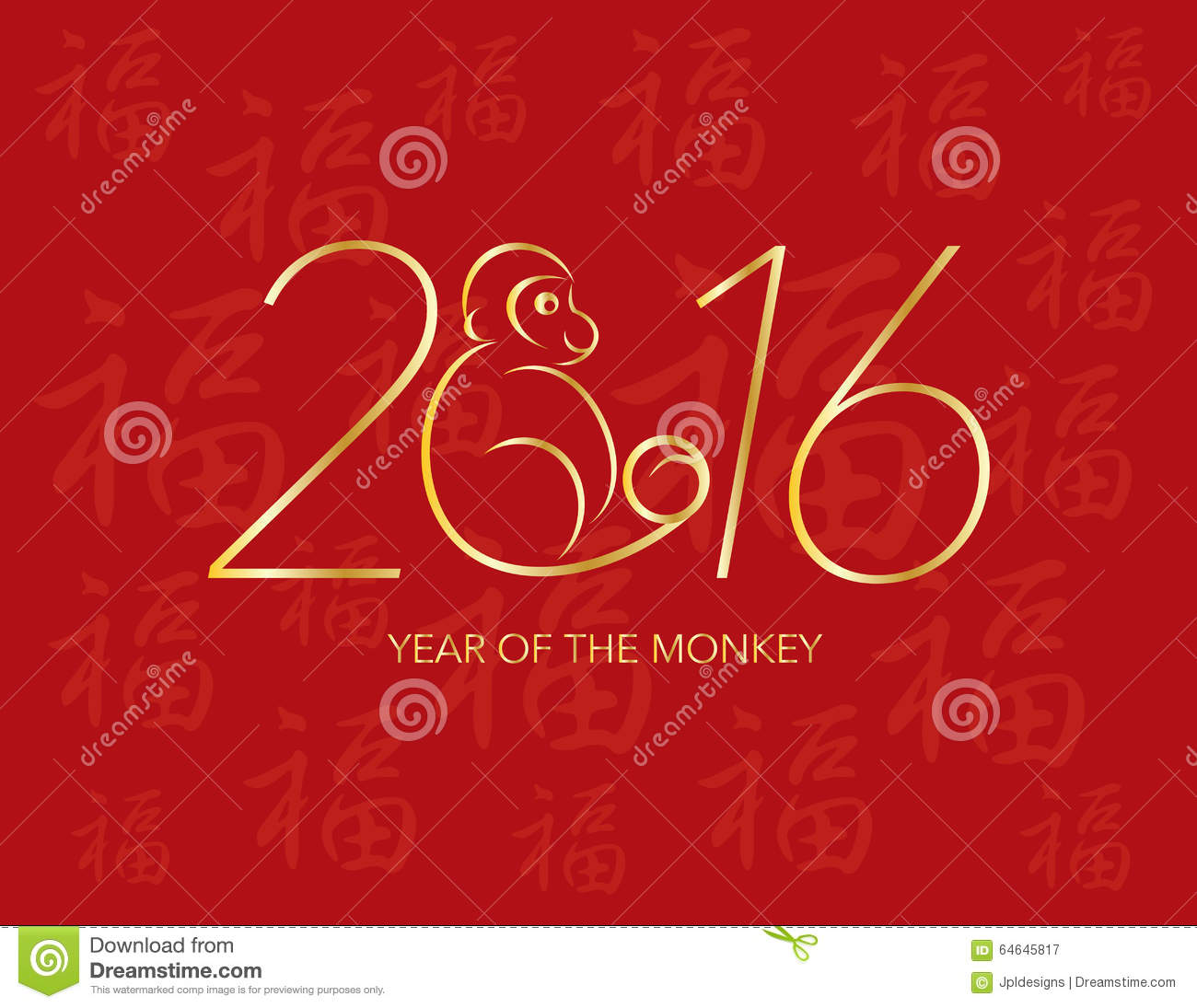 New Year S Line Art : Chinese new year monkey on red background