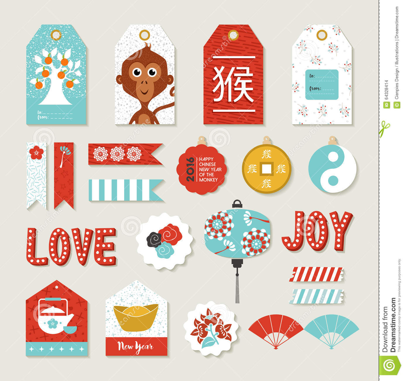 chinese new year 2016 monkey set cute label tag