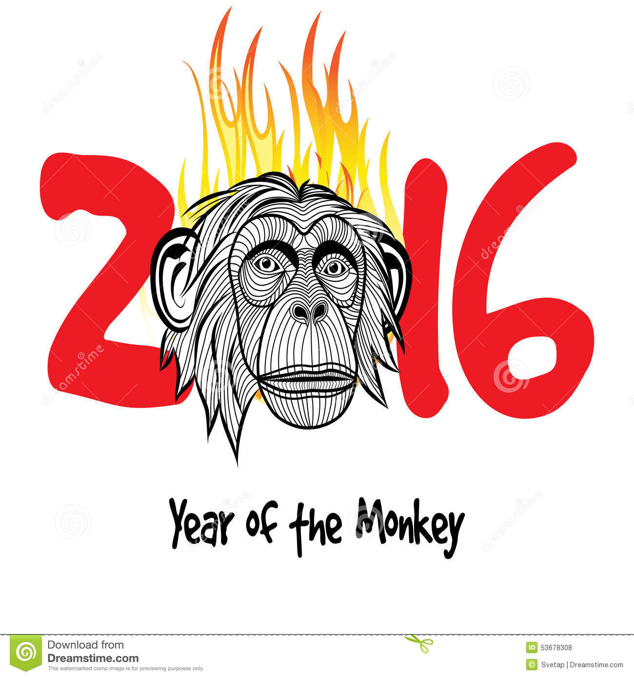 ... on figures vector illustration. Chinese new year 2016 (Monkey year