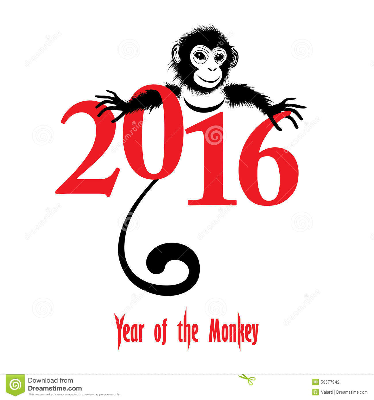 The year of monkey Chinese symbol calendar in red on figures vector ...