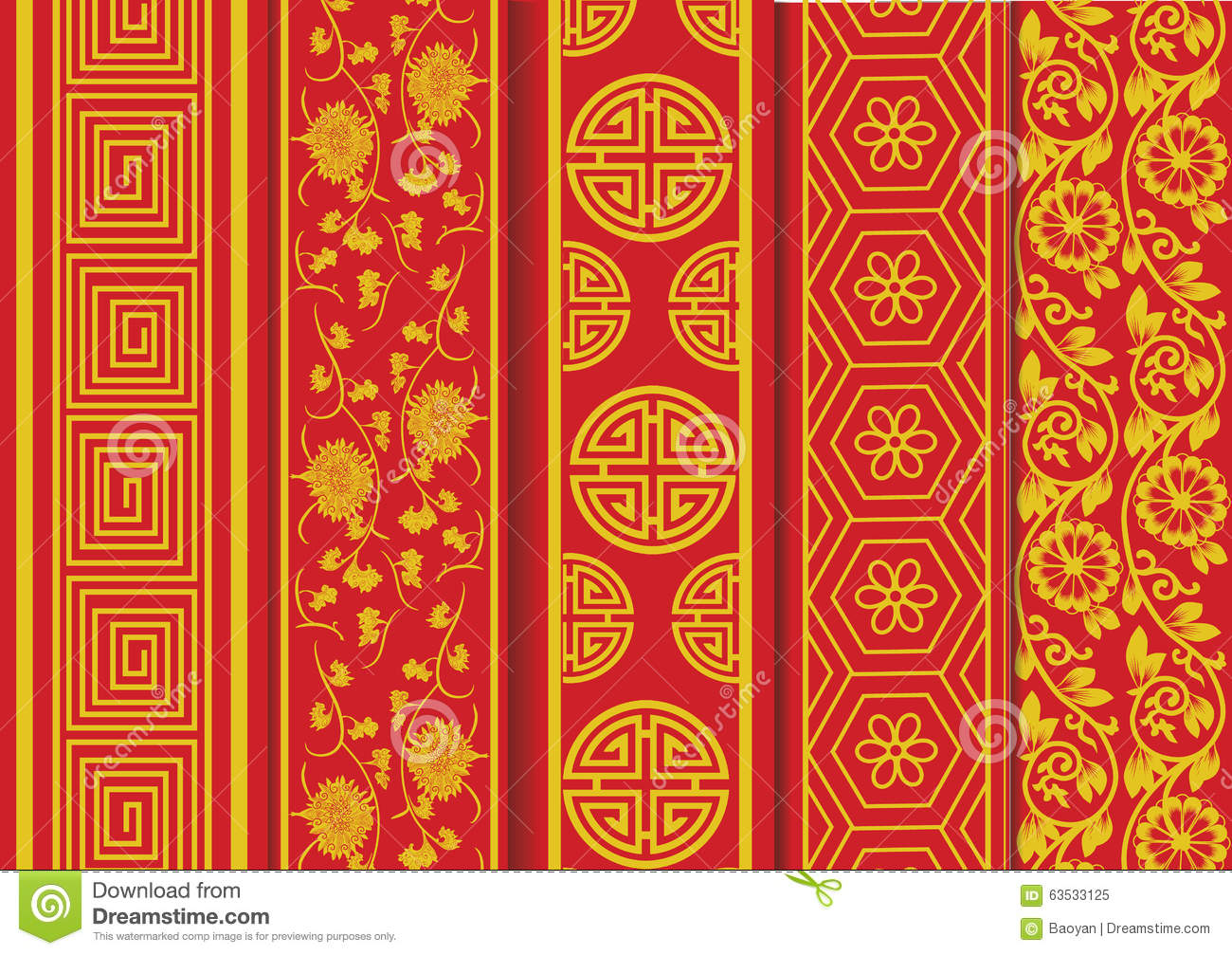 Chinese new year pattern stock vector image 63533125 for Chinese vector