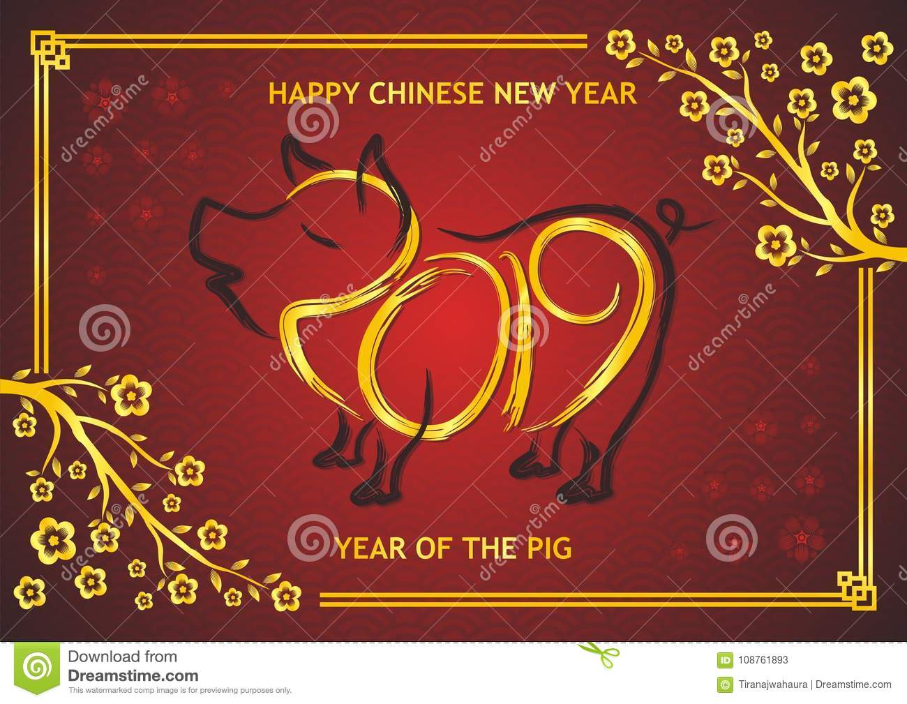 Chinese new year 2019 year of pig stock vector - Lucky color for new year 2019 ...
