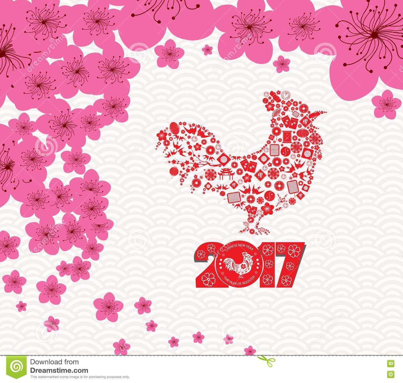 Chinese New Year 2017 Plum Blossom And Rooster Background