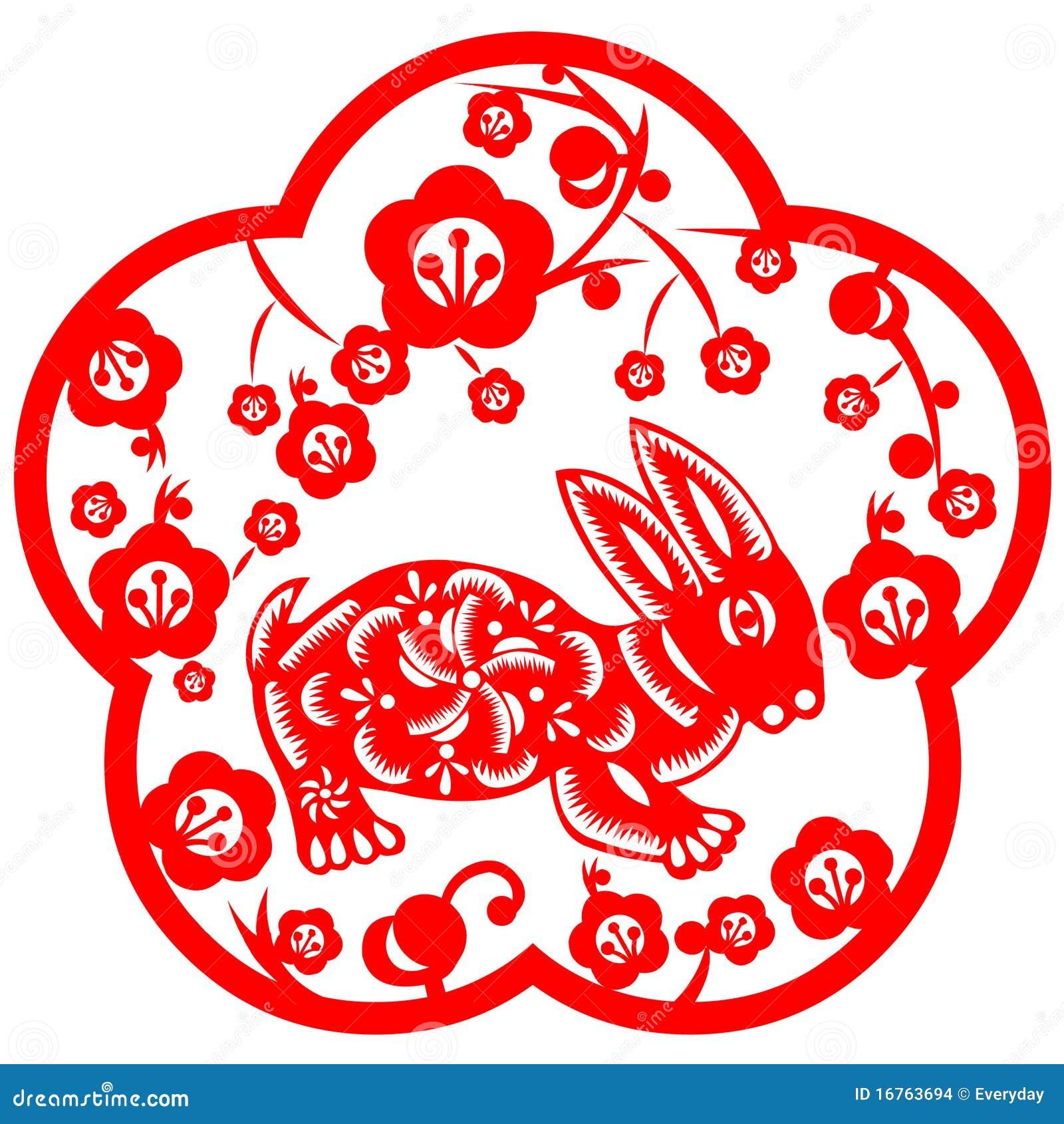 Chinese New Year Rabbit Stock Vector Illustration Of Papercut