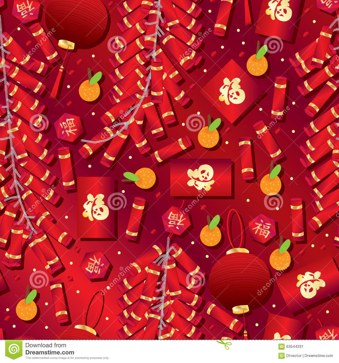 Chinese New Year Red Color Seamless Pattern Stock Vector