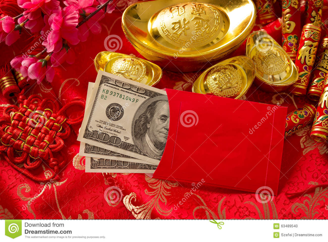chinese new year red envelope with dollars inside - Chinese New Year Red Envelope