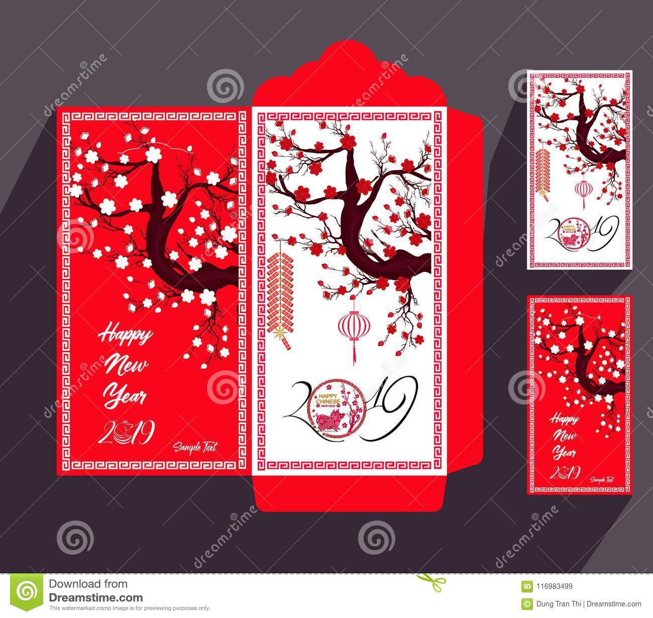 chinese new year red envelope flat icon year of the pig 2019