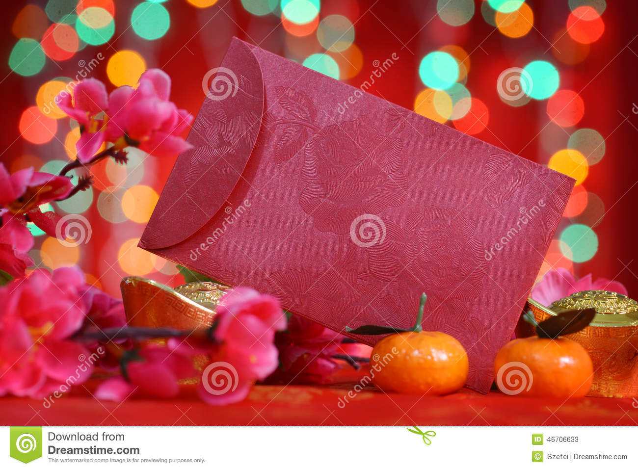 Chinese new year red packet stock photo image 46706633 for Ang pow packet decoration