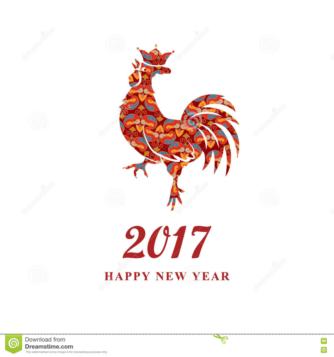 2017 Chinese New Year Of The Rooster Silhouette Of Red Cock The