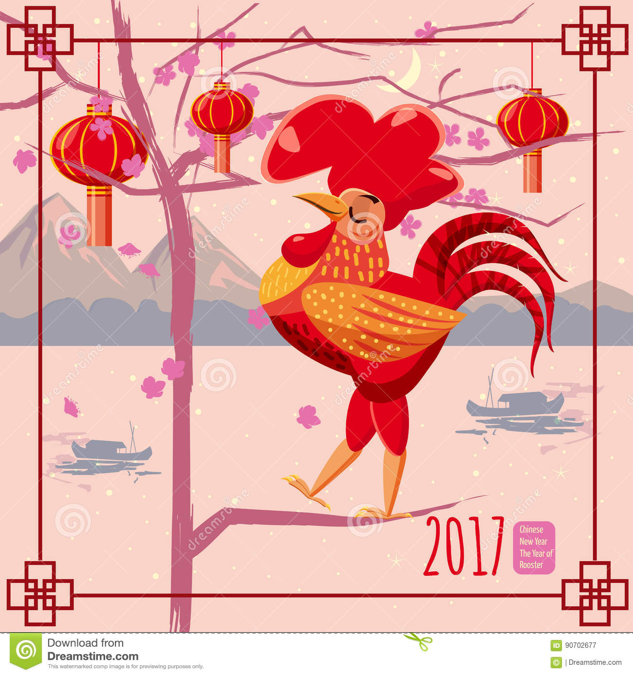 chinese new year rooster background chinese landscape mountains sea boats flowering tree lanterns cartoon style design a poster greeting card