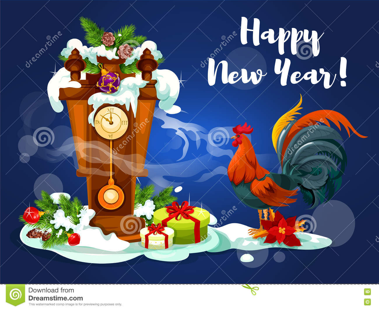Chinese New Year Rooster With Clock Stock Vector Illustration Of