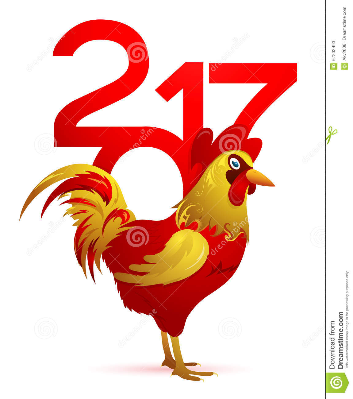 Chinese New Year 2017 With Rooster Stock Vector - Image ...