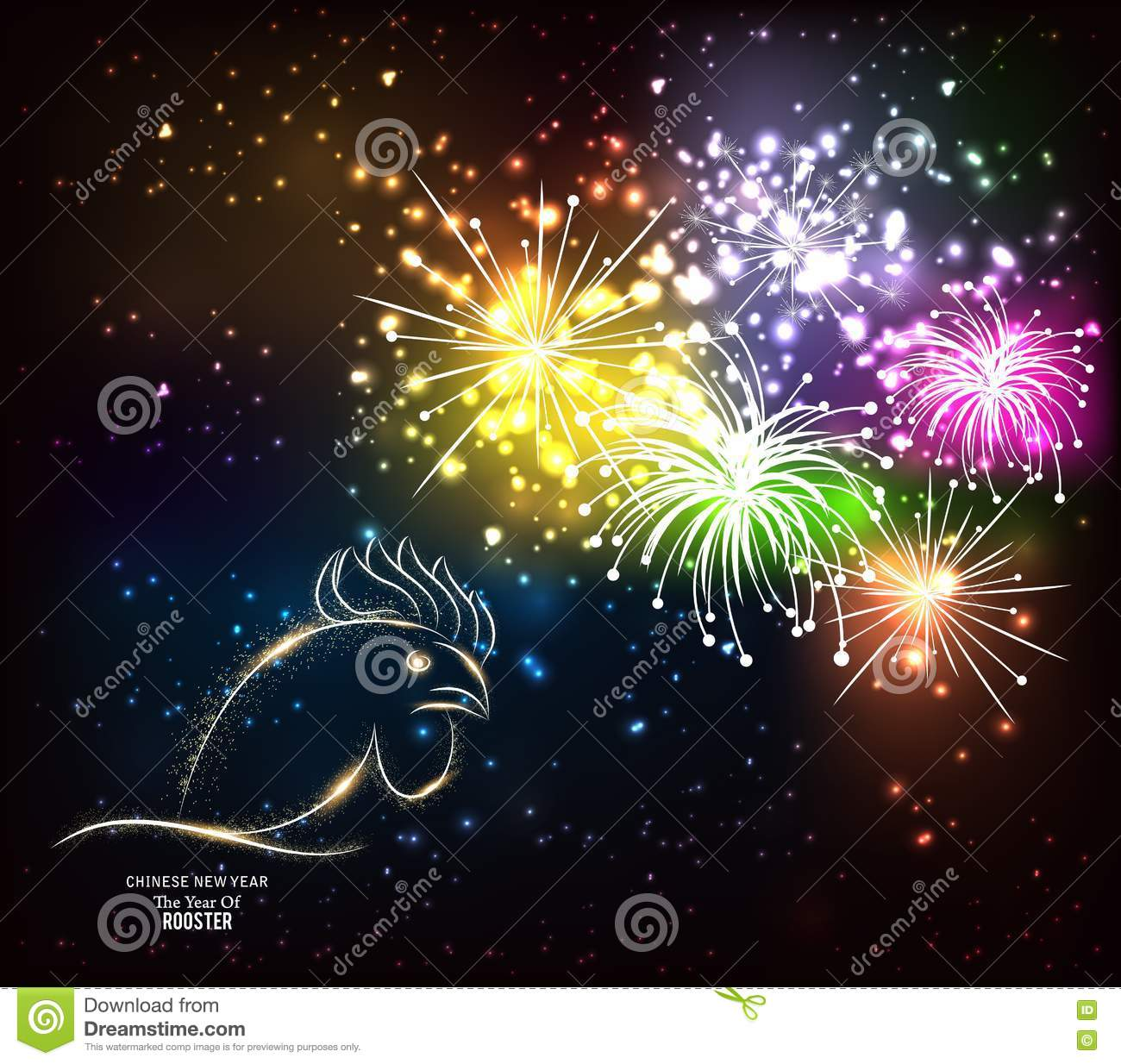 chinese new year rooster fireworks night background 73617956
