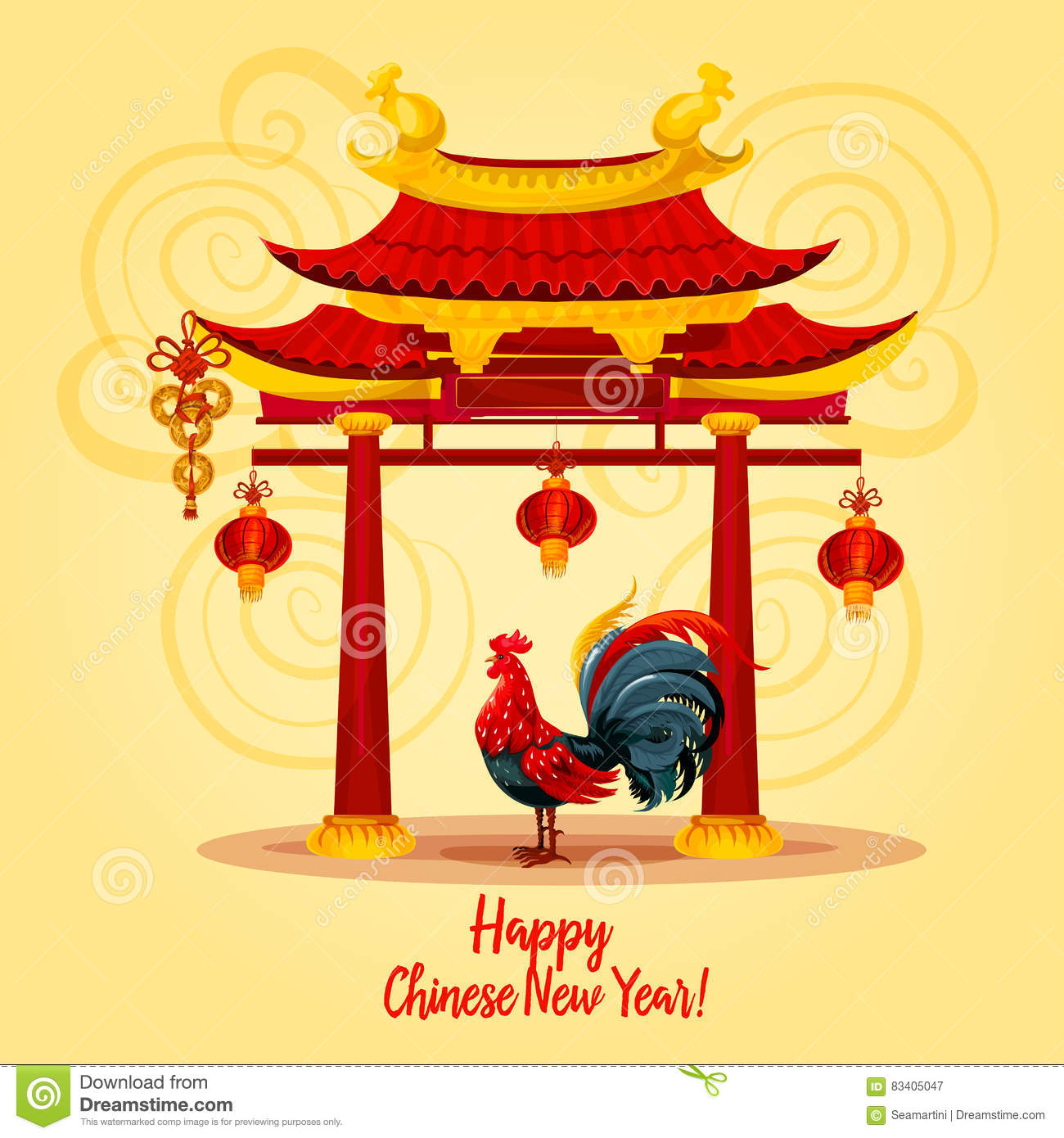Chinese New Year Rooster Greeting Card Design Stock Vector