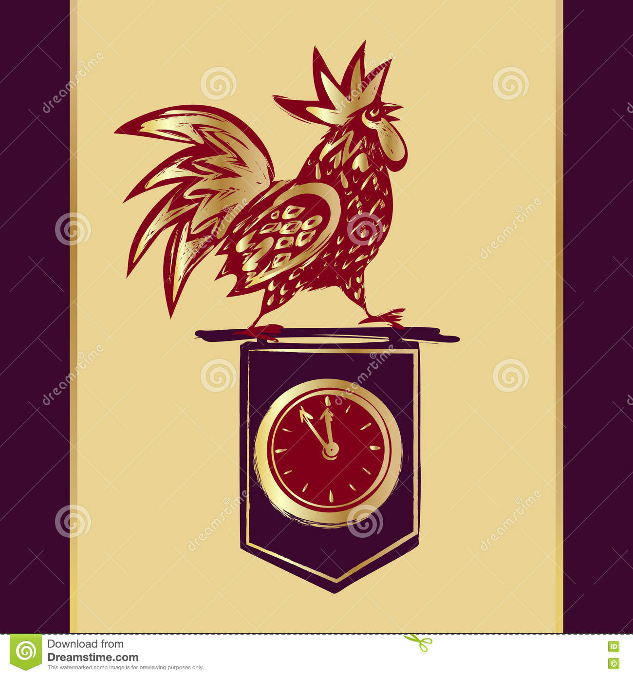 2017 chinese new year of the rooster vector illustration hand drawn illustration red rooster