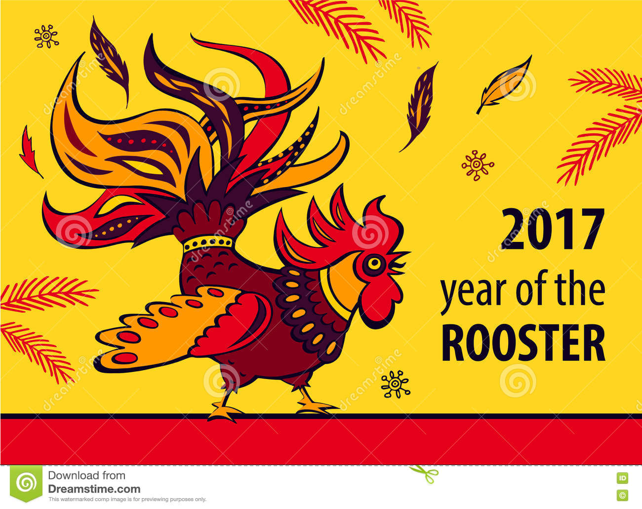 2017 Chinese New Year Of The Rooster. Vector Illustration With X Stock ...