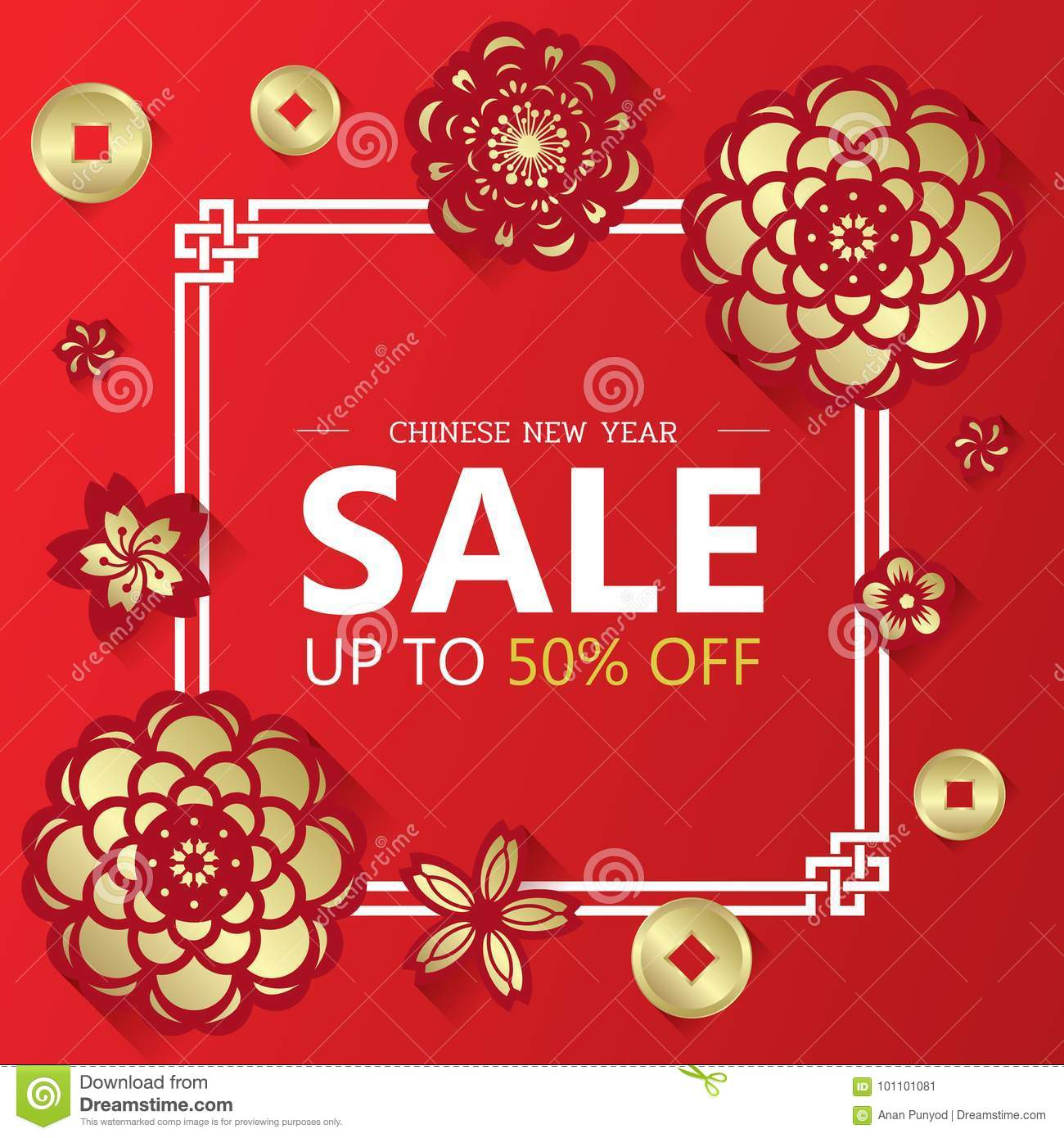 Chinese New Year Sale Banner With Gold Paper Cut Flower And
