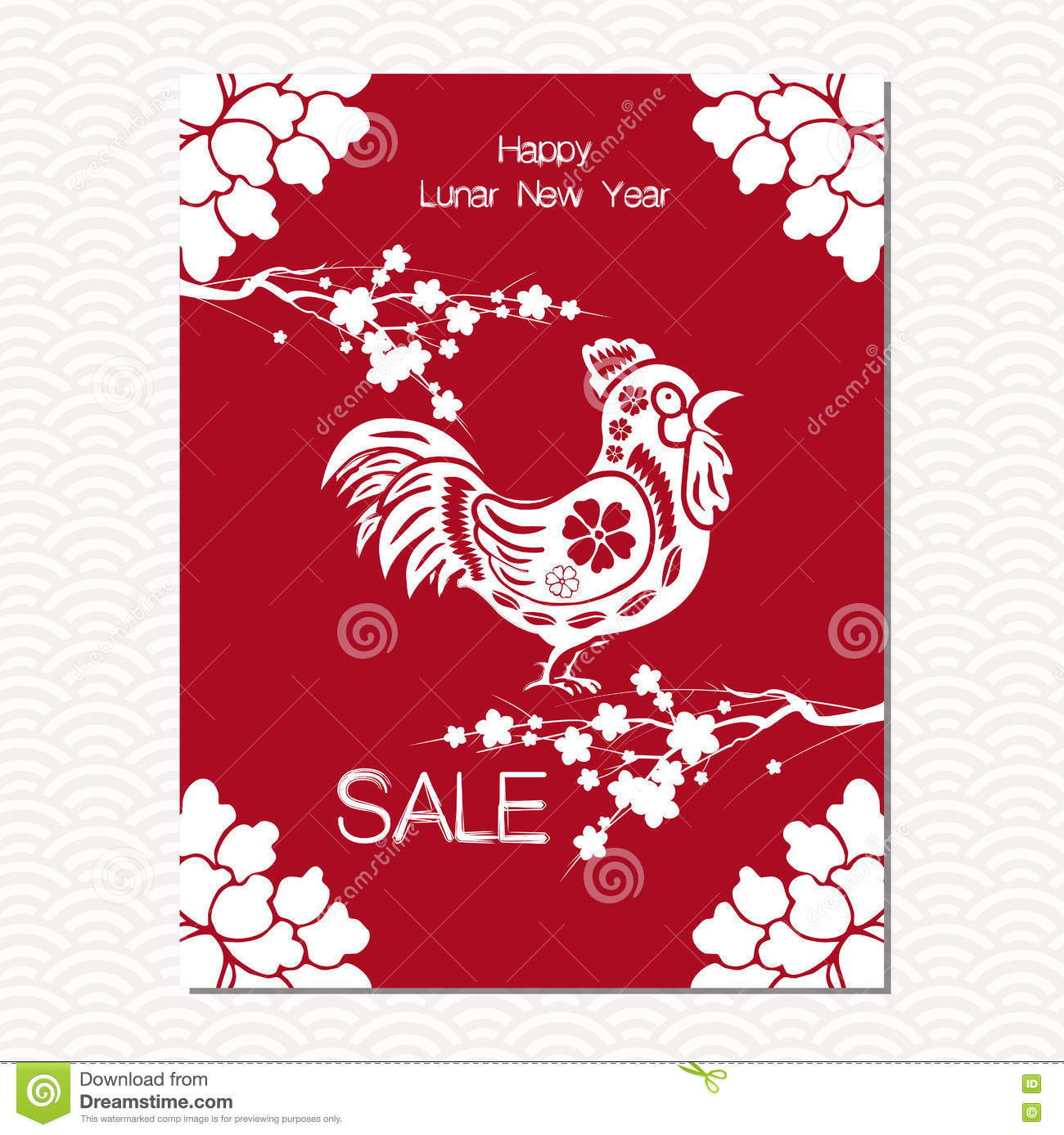chinese new year sale design template the year of rooster chinese paper cut arts