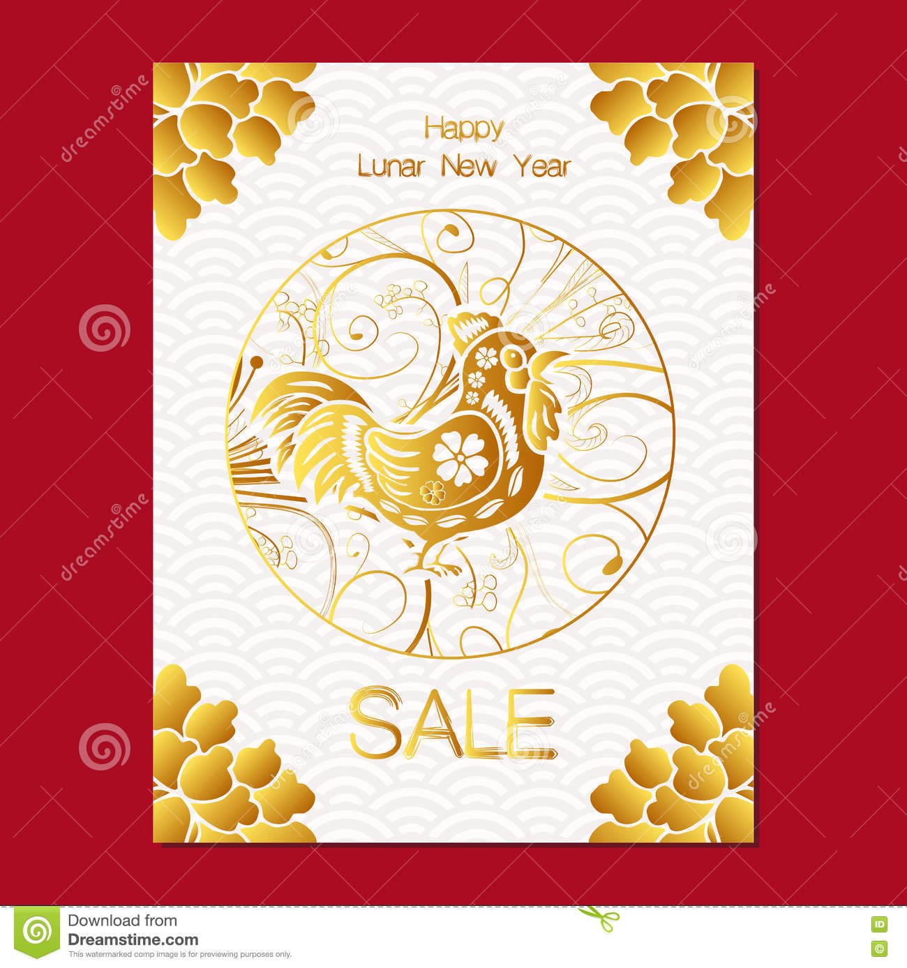 chinese new year sale design template the year of rooster chinese