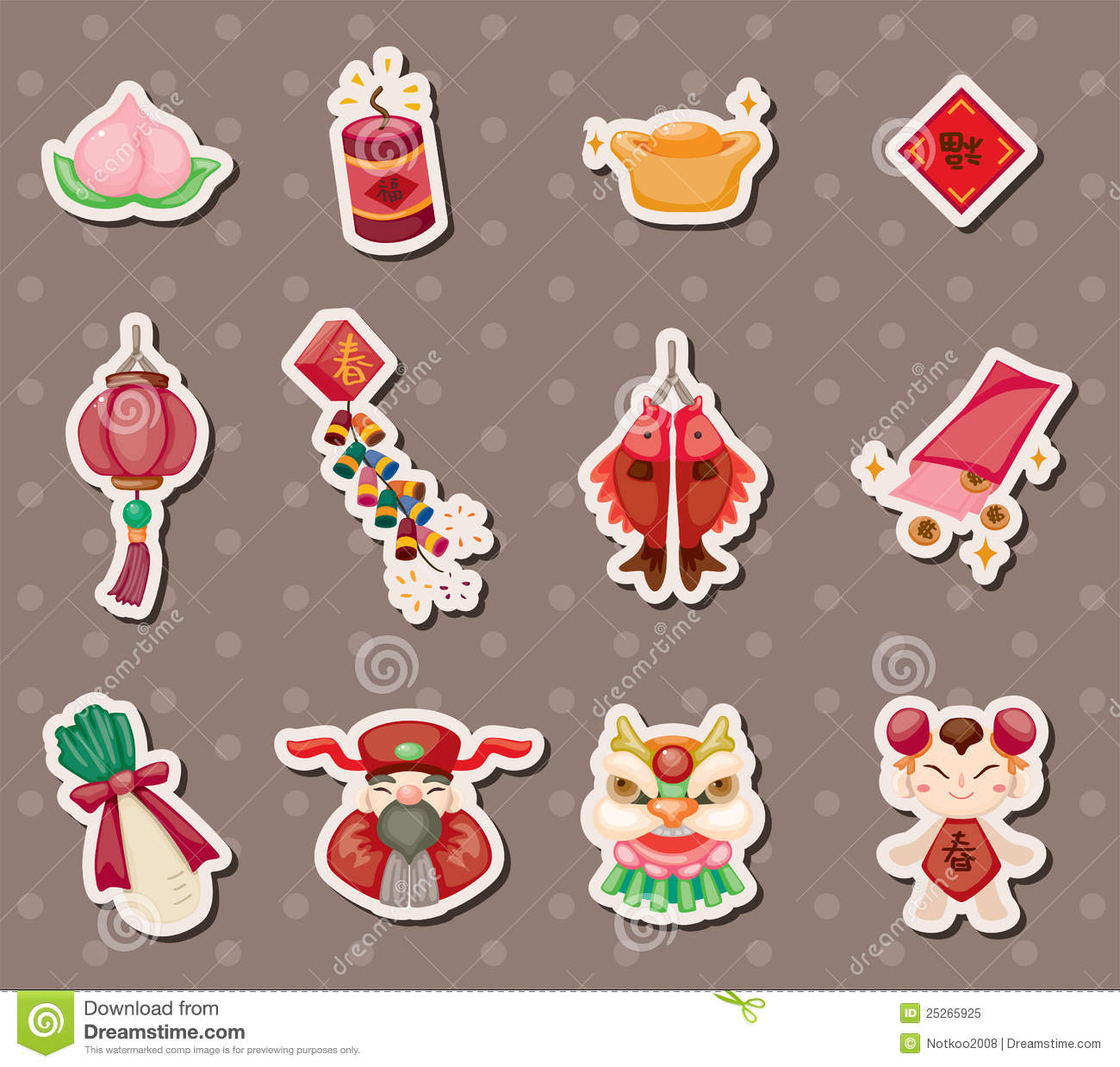 Chinese New Year Stickers Royalty Free Stock Photo - Image: 25265925