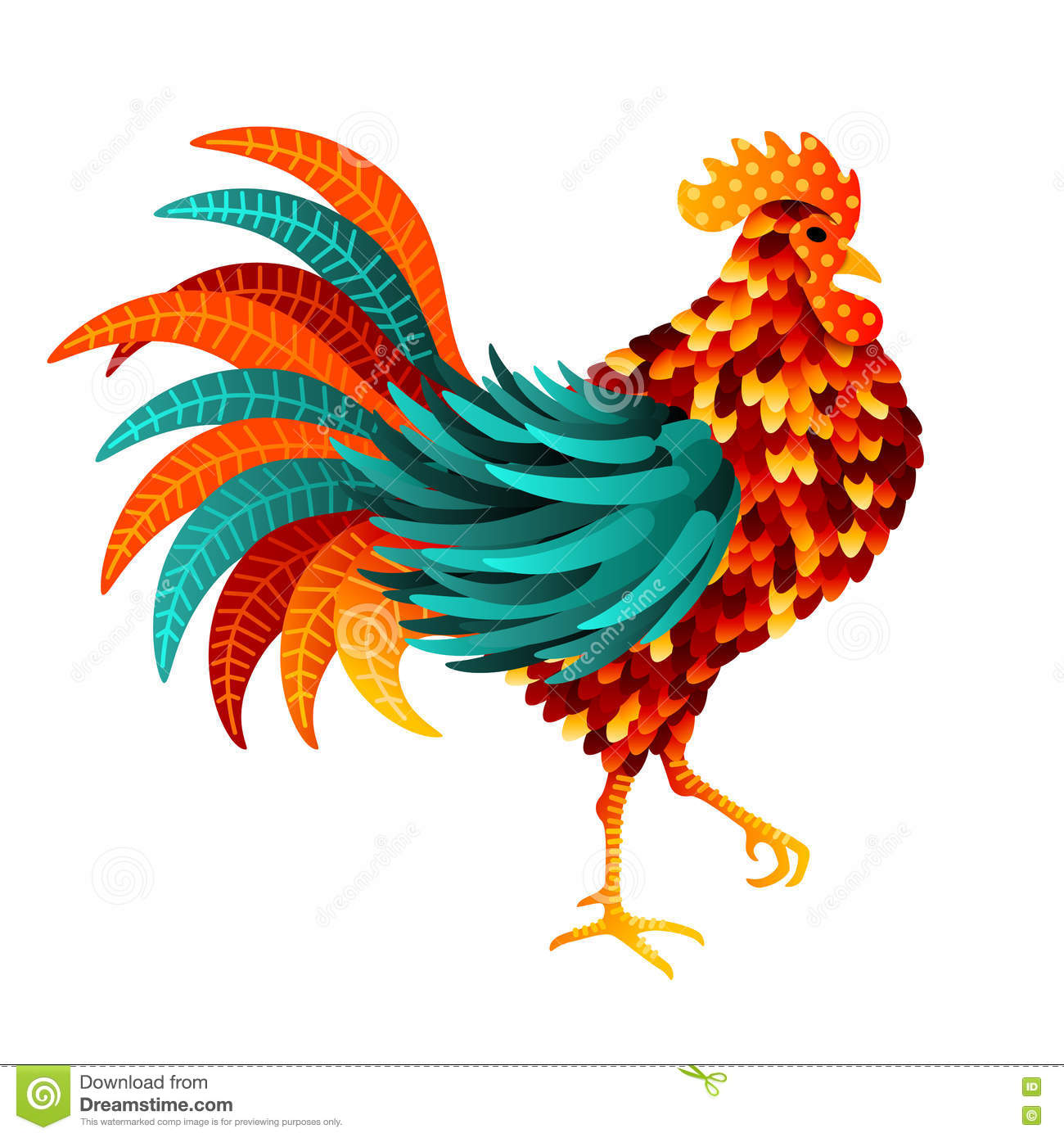 Chinese 2017 New Year Symbol - Rooster. Vector illustration. Colorful ...