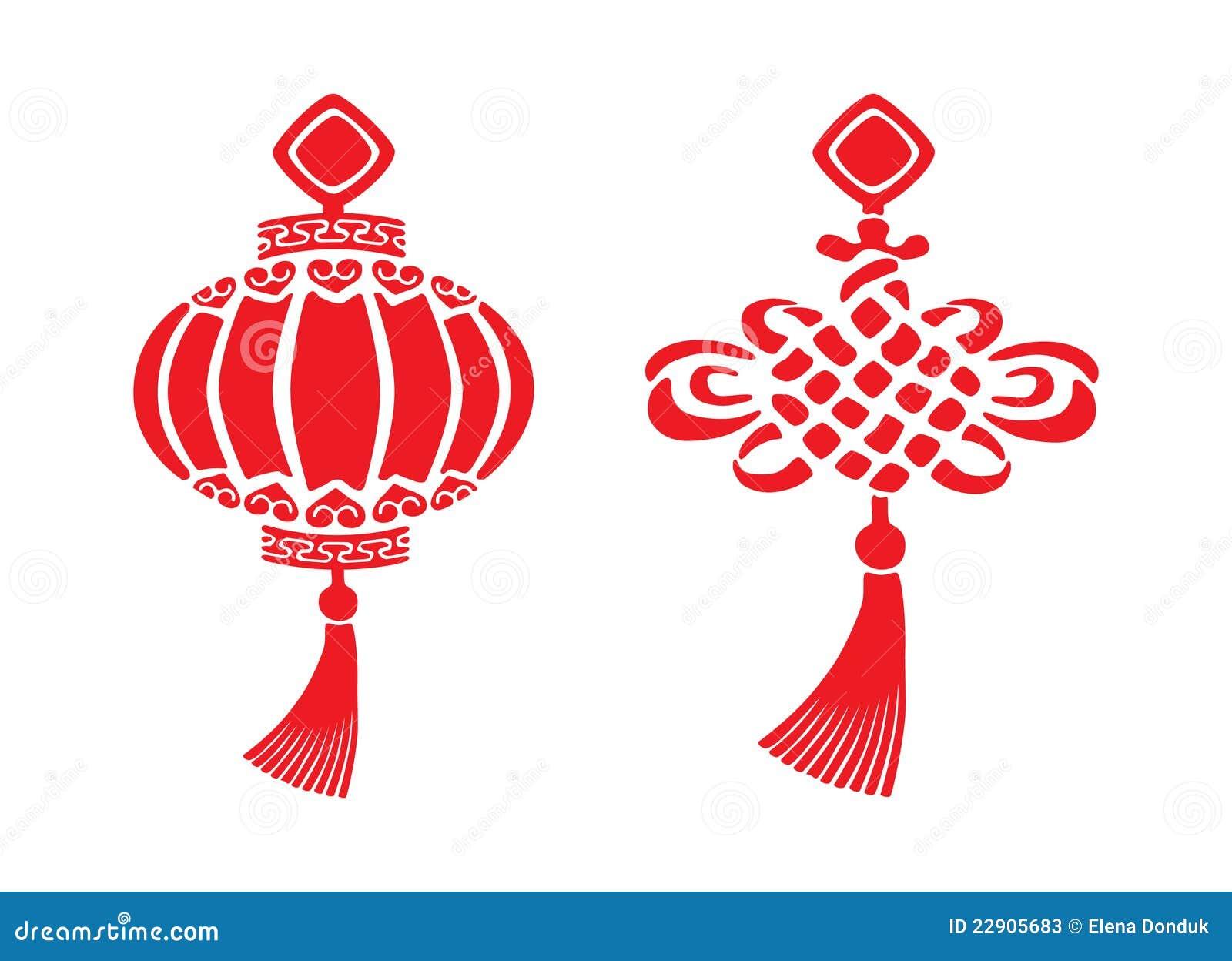Chinese New Year Symbols Stock Vector Illustration Of Decoration