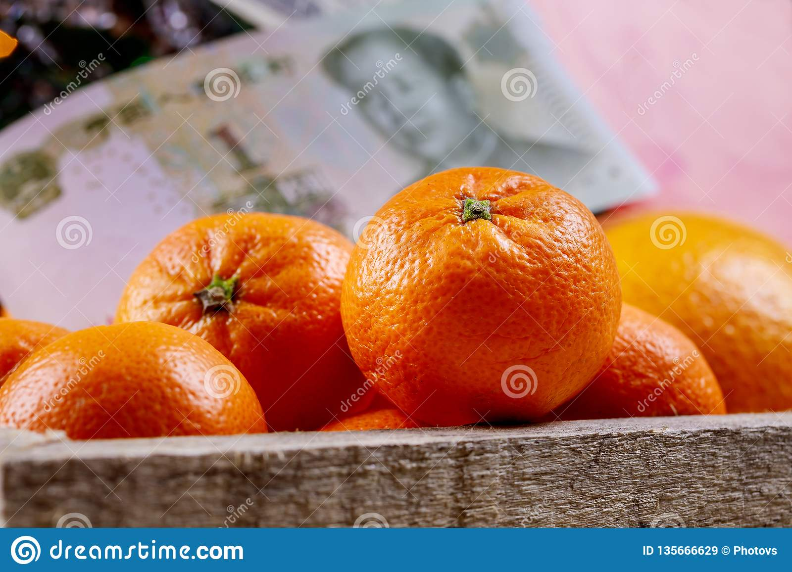 Chinese new year tangerine oranges on wooden table top