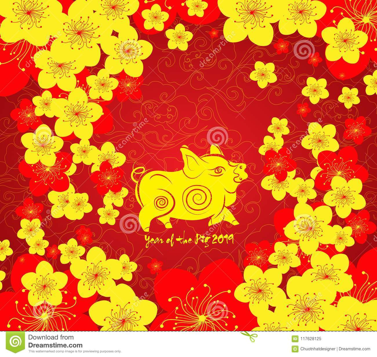chinese new year template background year of the pig