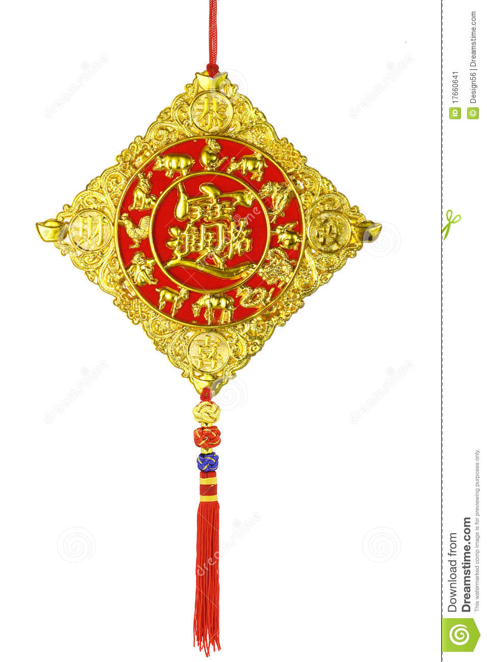 Chinese new year ornaments with zodiac animals on white background.