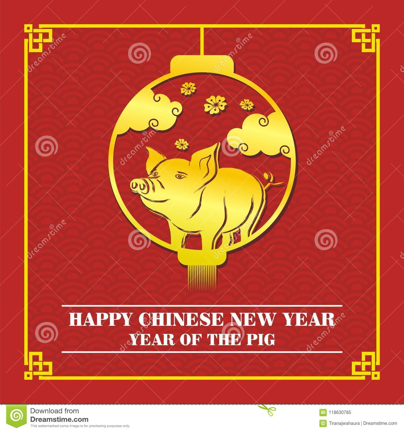Chinese new year 2019 year of pig card design stock - Lucky color for new year 2019 ...