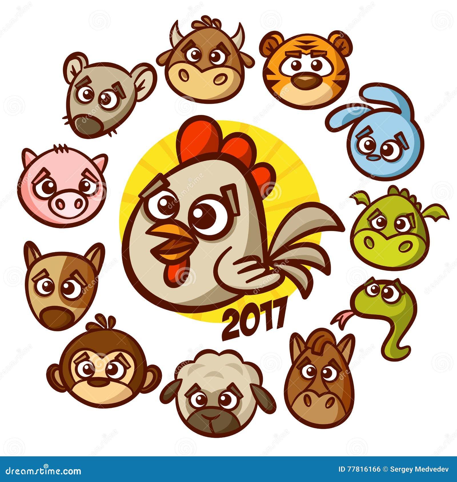Chinese New Year Zodiac Animal Horoscope Stock Vector ...