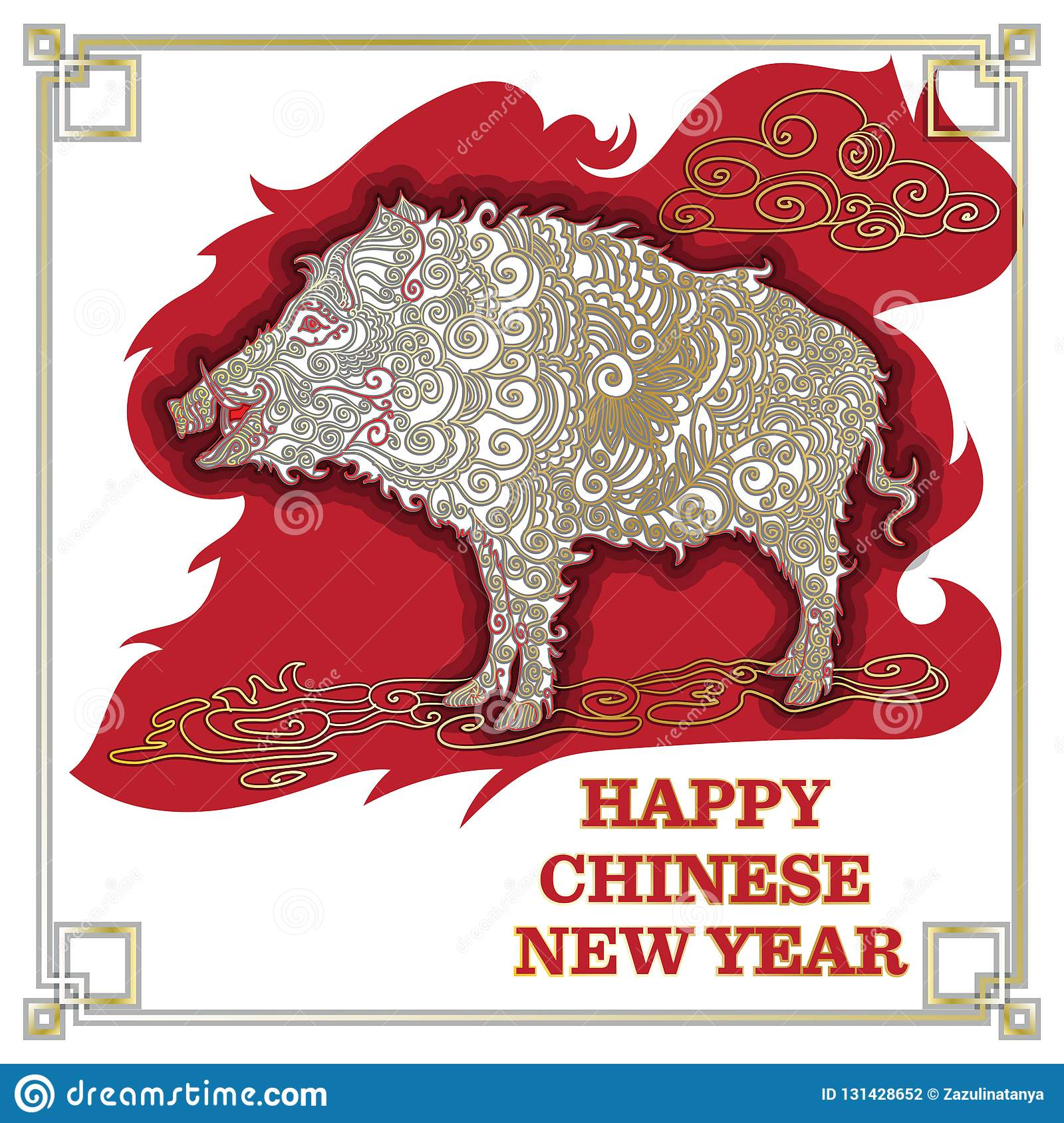 Chinese New Year 2019. Zodiac Pig. Happy New Year card, pattern. Vector illustration. Chinese traditional Design, golden