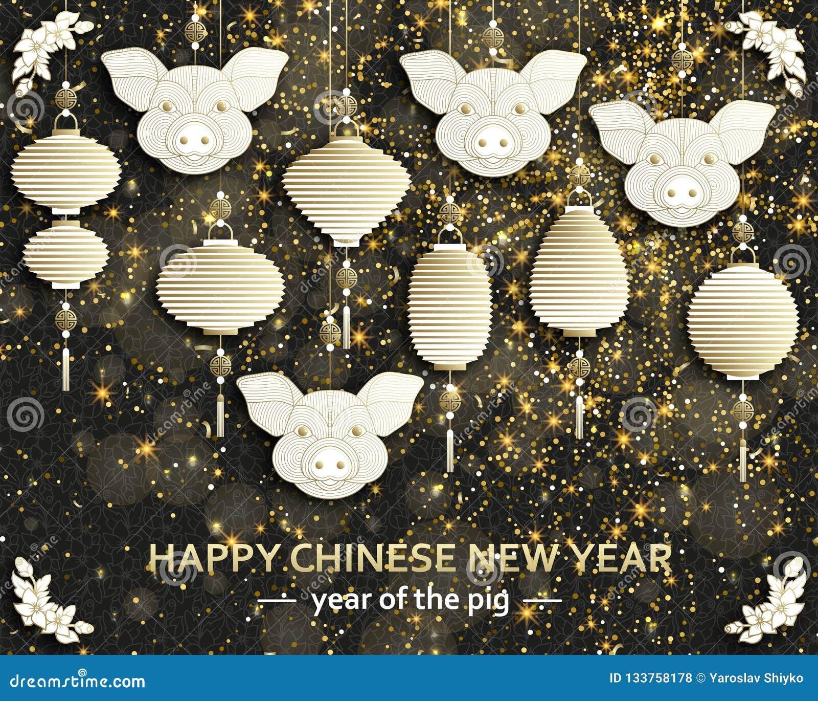 Chinese Nieuwjaarachtergrond met creatief gestileerd varken