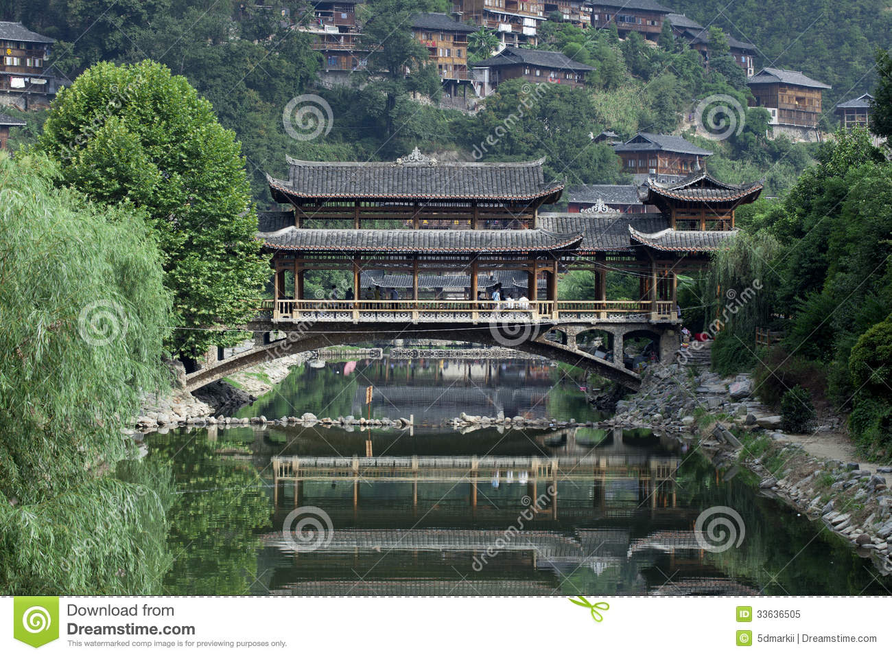 Chinese old bridge made of wood in west china royalty free for Wood in chinese