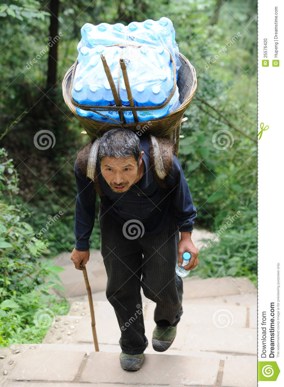 Chinese Old Man Carry Bottled Water Editorial Image - Image