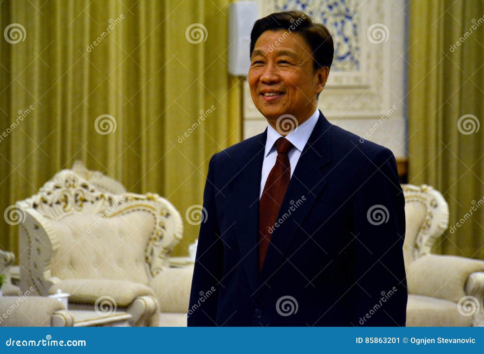 Chinese Ondervoorzitter Li Yuanchao tijdens de vergadering