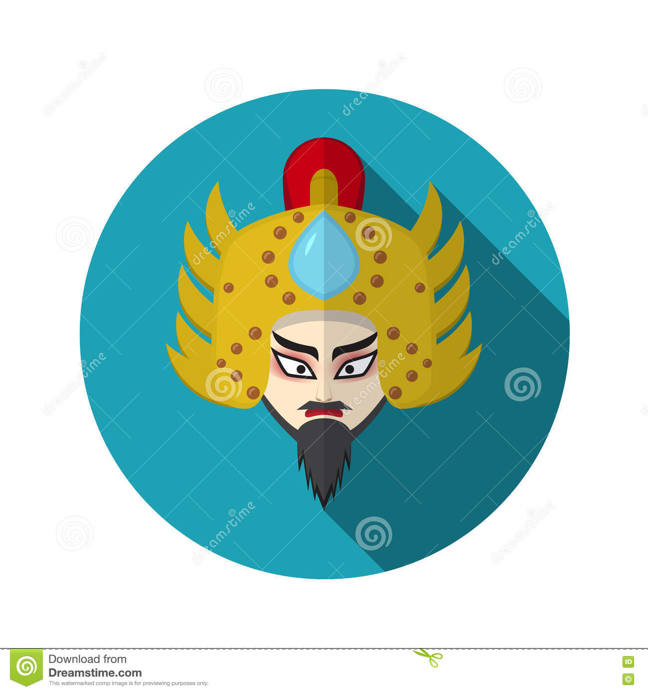 Chinese Opera Icon Warrior And Knight Symbol Stock Vector