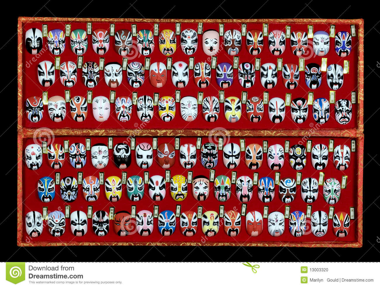 collection of 88 miniature Chinese Opera Masks in red silk box on ...