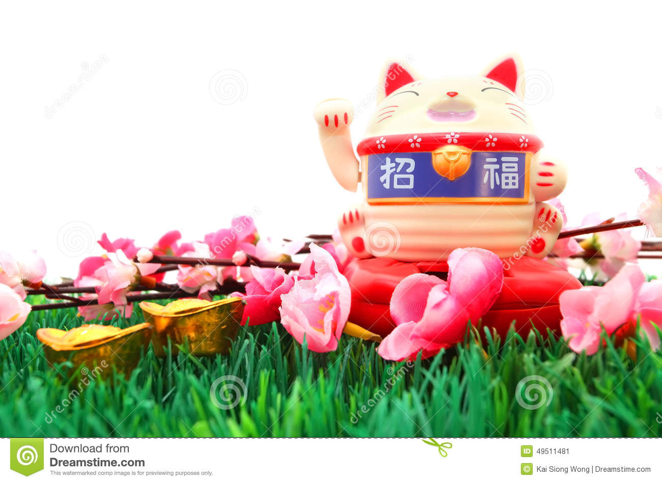Chinese oriental lucky cat figure